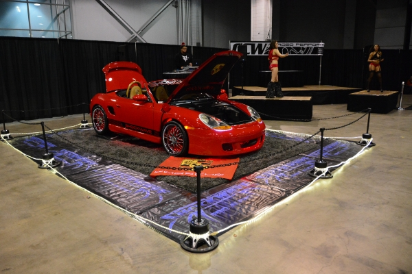 KGKIS GoGo Dancing at Tuner Galleria 2015 with the Shockwave Porsche Boxster