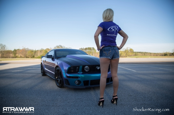 Megan Lyda with her Custom Wrapped Roush Mustang