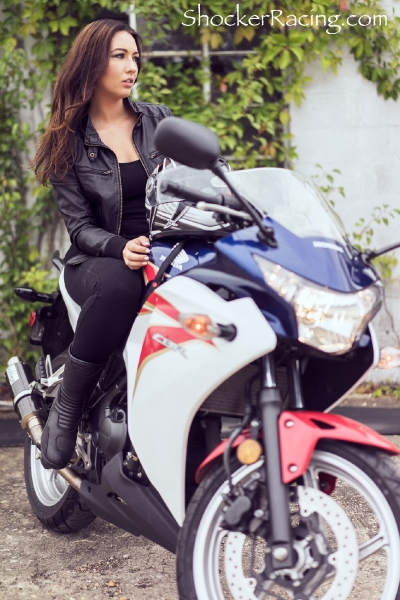 Bex Russ for ShockerRacingGirls with her Honda CBR