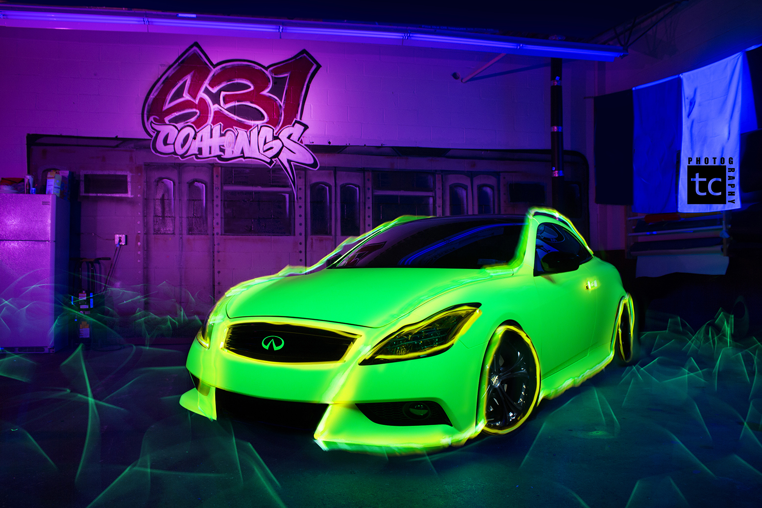 Hi-Liter Yellow Wrapped Infiniti G37 by 631 Coatings